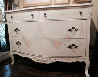 Shabby Chic Décor, Hand-painted Dresser, Bedroom furniture, Vintage Décor