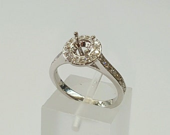 0.34 Ct Round Diamond 14k White Gold Semi Mount Engagement Ring for 0.40-0.60 Ct size 5.75