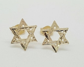 14k real gold Star of David Stud Earring