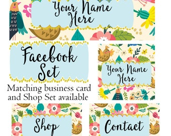 Facebook cover set customized social media header profile pic modern bright and beautiful business graphics whimsical birds and flowers