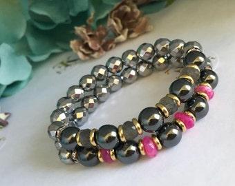 Hematite Ruby Bracelet,  Beaded Gemstone Bracelet Stretch, Stack Bracelet