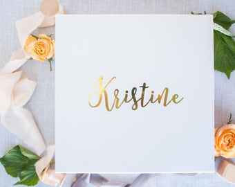 Bridesmaid Box, Keepsake Gift Box, Hand Lettered Bridesmaid Box, Gold Foil Bridesmaid Box, Hand Lettered Gift Box, Gold Foil Gift Box