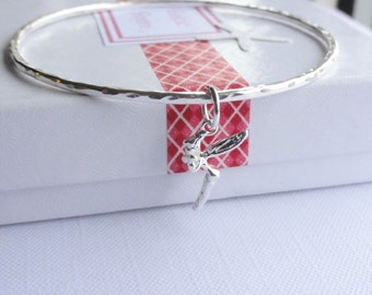 Sterling Silver Stacking Bangle with a Tinkerbell Fairy Charm - Choose Size and Thickness