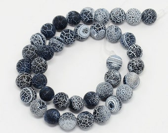 50 Perles agates craquelées veine de dragon  8 mm noir- violet-bleu-rose-orange /Crackled agate beads dragon vein 8 mm