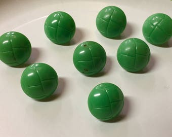8 Vintage Green Plastic Buttons