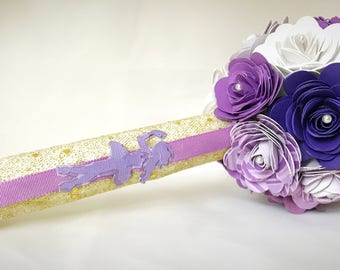 Dance recital Paper Flower Bouquet - ballet-  Purple and white - ballerina