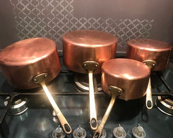 Copper Pan set with Brass Handles and Stamped Made in France