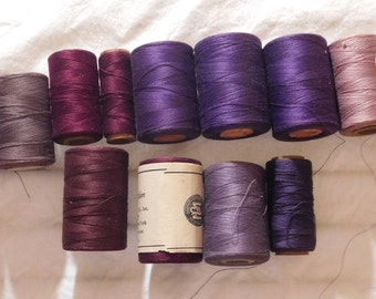 Vintage Sewing Thread Shades of Purple Lavendar Lilac Royal Burgundy