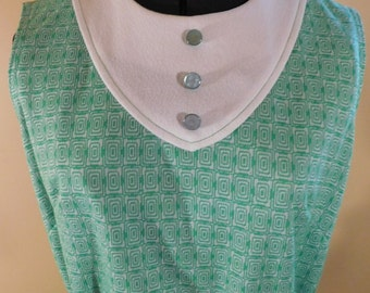 Vintage Sheath Dress Sleeveless 1960s Mod Green Geometric Dress Matching Belt