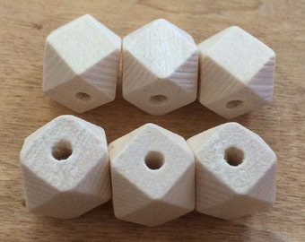 20PCS 10MM Unfinished  Wood Octagonal Beads, Faceted Wood Beads WBJ101