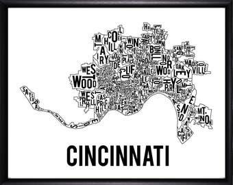 Cincinnati Ohio Neighborhood Typography Map