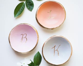 Personalized Colored Initial Jewelry Dish / Ring Dish / Bridesmaids Gift / Wedding / Gift for Her / Mothers Day / Clay Dish / Anniversary