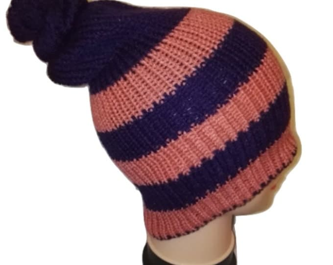 Pink Purple Red colour mix Unique Handmade bobble hat slouch double knit extra thick #retro #handmade #knitwear