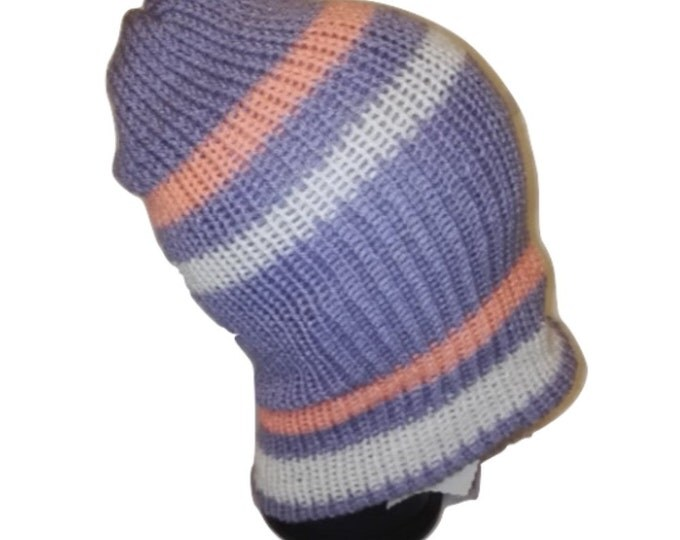 Salmon Pink / lilac purple RETRO Handmade bobble slouch beanie hat double knit extra thick #retro #handmade #knitwear