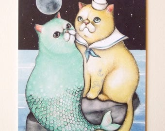 Cat mermaid and sailor print - limited edition digital print - romantic lovers print