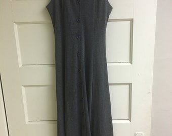 Button Up Grey Maxi Summer Dress Size Small