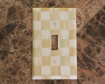 Custom Switch Plate Outlet Covers made with Mackenzie-Childs Parchment Check Paper