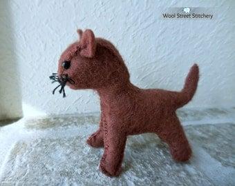 Small felt cat, handmade stuffed cat, kitten, soft toy, stuffed felt animal