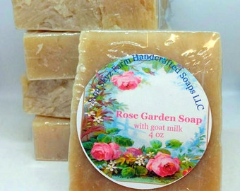 Rose Garden Goat Milk Soap - Rose Goat Milk Soap - Rose Garden Soap - Rose Soap - Natural Rose Soap -Artisan Rose Soap-Handcrafted Rose Soap