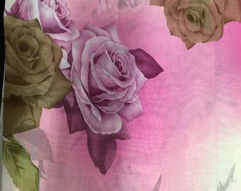 Chiffon Big Flower Print Pink,Brown,Fuschia,Green