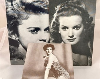 MOVIE Star Vintage Exhibit Cards.  Ann Margret, Maureen O'Hara, Ava Gardner.  Vintage Cards measure 5 1/4 by 3 3/4 inches