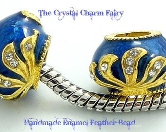 Royal Blue Enamel FABERGE Charm Bead With GOLD Feather And CRYSTALS Fits /Big Hole / Pandora / Large Hole / European Bracelets And Necklace