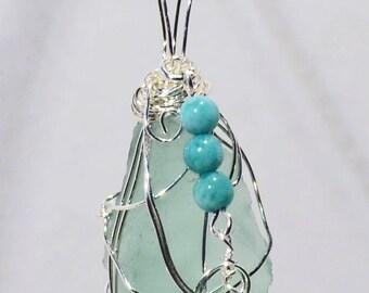 "Genuine Maine Sea Glass Pendant w/ Agate & Quartz charm, 20"" silver plated chain"