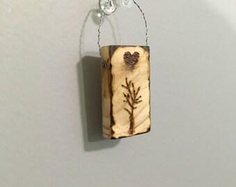 Little Tree Wood Burned Decoration