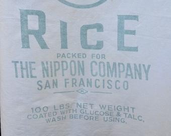 Vintage Maruhi Rice Sack, Calrose Rice Bag, Nippon Company, San Francisco, Muslin 100 Lbs Bag, circa 1950s