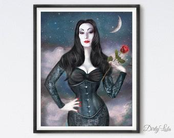 Morticia  - Gothic - Illustration - Art Print - Fan Art - Horror - Vampire - Witchy
