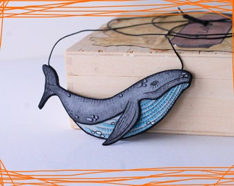 Whale leather necklace, leather jewelry, handpainted jewelry, grey whale, handpainted leather, illustration, sea creature, traveler jewelry