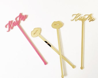 Kiss Me Drink Stirrer,Calligraphy,Kisses,Valentines Day,Besou,Bachelorette Party,Bridal Shower,Swizzle Sticks,gift,Laser Cut,Bar Decor,6Pack