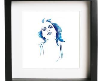 Mathilde // Pen and Ink Fashion Illustration // Blue Fine Art Print