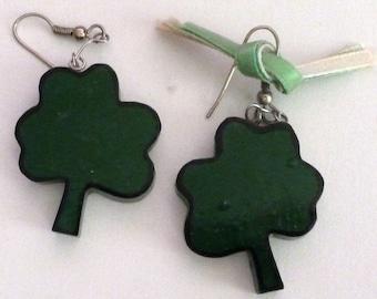 VINTAGE - Green Wood Shamrock Earrings with Silver Ear Wires