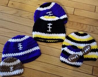 Crochet Football Hat Pattern, sizes newborn to adult