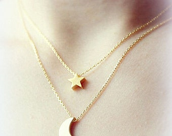Necklace chain Moon Star double necklace multilayer