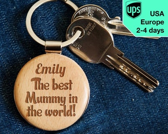 Best Mummy - key chain, personalized laser engraved wooden key chain
