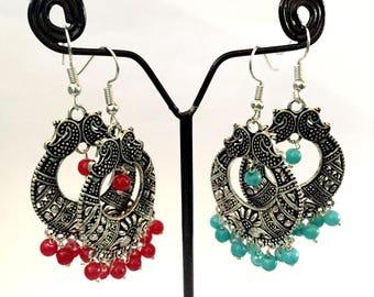Oval Oxidized Silver Earring,Indian Earrings,Beaded Earrings