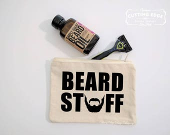 Beard Stuff Canvas Zipper Bag | Gift for Him | Fathers Day Gift | Grooming Bag | Zipper Pouch | Funny Gift | Gift for Guy | Hipster Gift