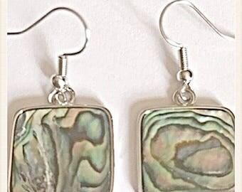 New Zealand Abalone Shell Dangling Earrings