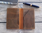 Brown Leather Notebook Cover - Hand Made Leather Cover for 3.5 x 5.5 Notebook with Card Pockets- Hand Made Sweet Potato Brown Leather Wallet