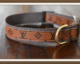 Louis Vuitton Style Leather Dog Collar
