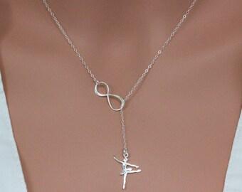 Ballerina dancer necklace in Sterling Silver - Infinity Dancer Lariat Necklace - Dancer Student Gift - Ballerina NEcklace Dancer gift Gift