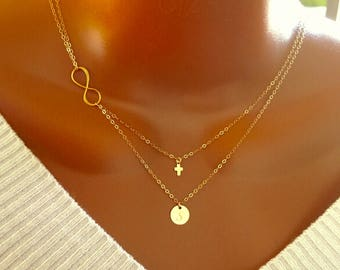 Layered Infinity tiny cross and disc necklace, All 14k gold filled, personalized letter, personalized gift