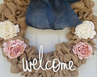 "Spring ""welcome"" burlap wreath"