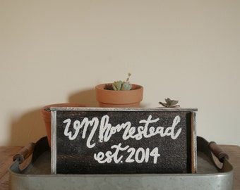 """Hand Painted """"Homestead"""" Framed Reclaimed Wood Sign"""