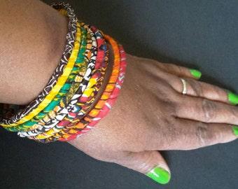 Boho Slim African Fabric Bangles - 100% Cotton Ankara Bangles - African Print Bangles - African Fabric Covered Bangles
