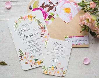 Bohemian Wedding Invitation, Floral Wedding Invites, Wedding, Invitations, Rustic Wedding, Invitation Set, Invitation Suite