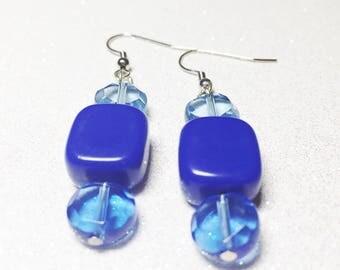 Dangle Earrings - Blue Acrylic Beads - Blue Glass Beads  - Free Shipping within the U.S.