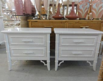 Lacquered Faux Bamboo Nightstands Palm Beach Regency
